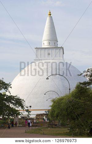 ANURADHAPURA, SRI LANKA - MARCH 12, 2015: Dagoba Miriswatta close up. Historical landmark of the city Anuradhapura, Sri Lanka