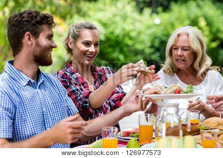 Happy couple with grandmother having sandwich at yard