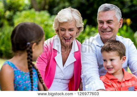 Happy grandparents relaxing with grandchildren at yard