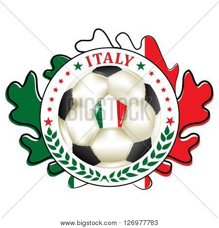 Printable football team label for Italy. Italy football national team sign, containing a soccer ball and the italian flag. Print colors used