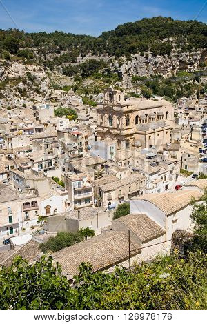 A view on the baroque town of Scicli in the Ragusa province of southern Sicily in Italy