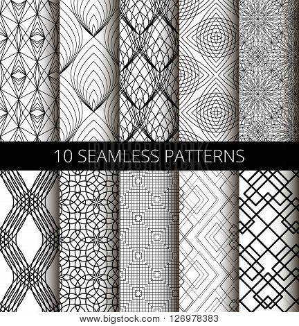 Set of black line seamless patterns. Different lines backgrounds for interior design, wallpaper print, fashion fabric, furniture, gift paper. Black ornaments, strict patterns and minimalistic patterns