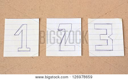 Numbers Number One Number Two Number Three on wood background vintage tone