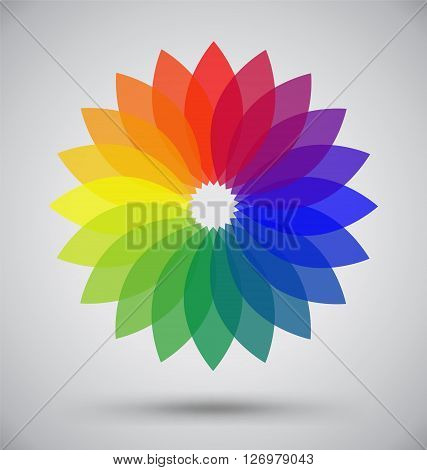 Abstract Colorful Spectrum Flower Petal Logo Vector Design