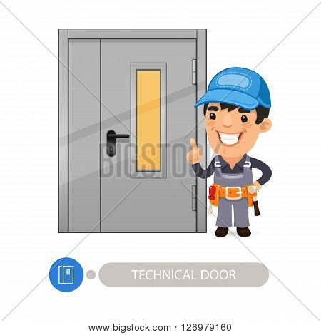Technical Door with Cartoon Worker. Clipping paths included.