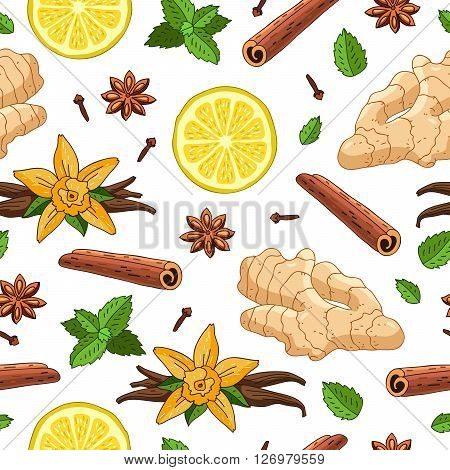 Seamless vector pattern of ginger lemon vanilla mint cinnamon and cloves on a white background. Wrapping paper. Elements for design. Spices.