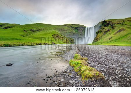 The famous Skogafoss waterfall in southern Iceland ** Note: Visible grain at 100%, best at smaller sizes