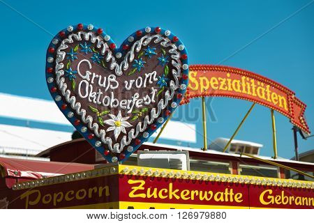 MUNICH, GERMANY - OCTOBER 02, 2014: Big gingerbread heart  labeled with