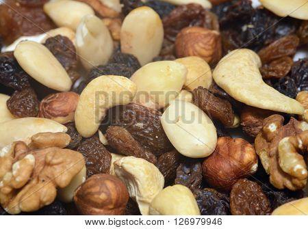 Mixed nuts for a  healthy breakfast in the morning.