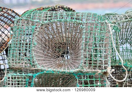 A fish trap in the harbor of sagres,portugal.