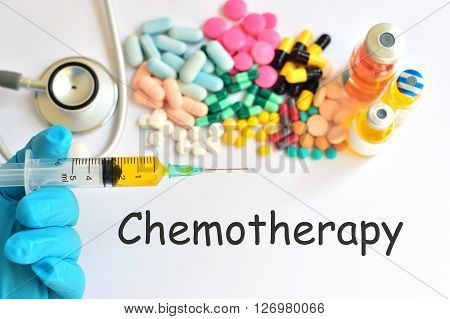 Syringe with many drugs for chemotherapy treatment