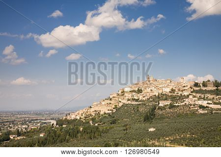 The skyline of the hilltop village of Trevi in the Umbria region of central Italy