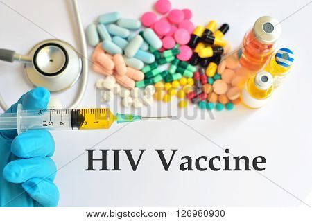 The syringe with HIV vaccine for injection