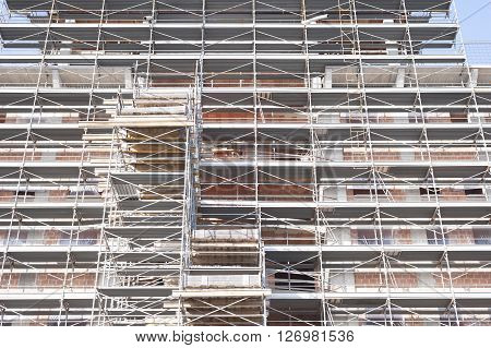 Construction scaffolding of a building under construction