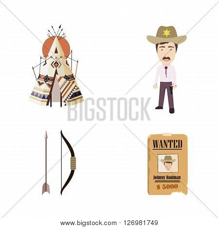Set of a Cowboys and Indians Vector Flat Icons. Includes Indian House Tipi or Tepee, Sheriff, Wanted Poster, and Bow with Arrow.