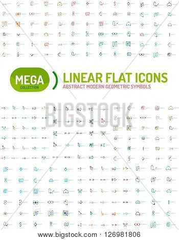Thin line abstract logo mega collection, modern flat design