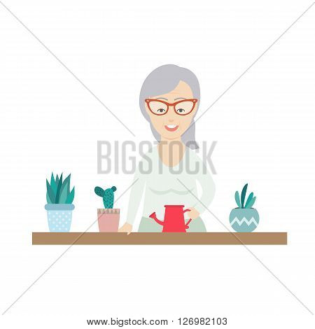 Vector Flat Illustration of an Old Woman Waters the Flowers in Pots.