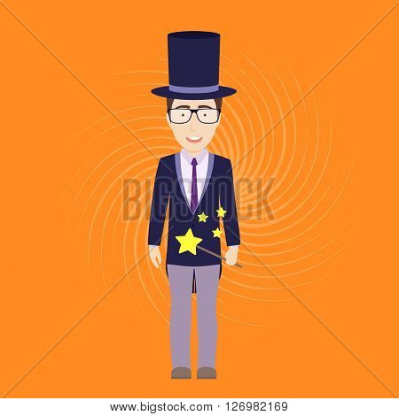 Vector Flat Illustration of Magician with Magic Stick