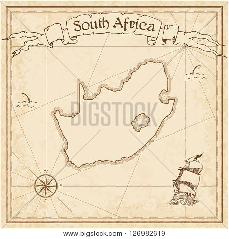 South Africa Old Treasure Map. Sepia Engraved Template Of Pirate Map. Stylized Pirate Map On Vintage
