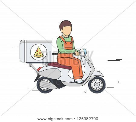 Vector Flat Illustration of a Pizza Delivery Boy on a Vintage Scooter.