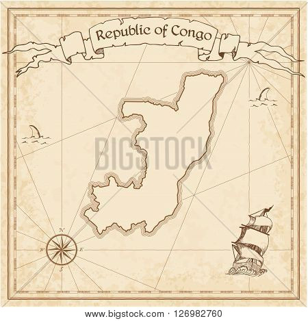 Congo Old Treasure Map. Sepia Engraved Template Of Pirate Map. Stylized Pirate Map On Vintage Paper.