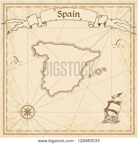 Spain Old Treasure Map. Sepia Engraved Template Of Pirate Map. Stylized Pirate Map On Vintage Paper.