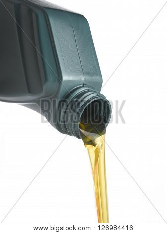 Oil can pouring oil isolated on a white background