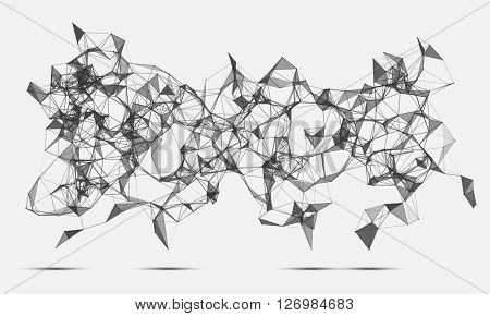 Abstract triangles space low poly. White background with connecting dots and lines. Light connection structure. Polygonal background. Futuristic HUD.