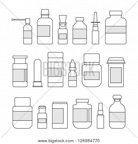 Medicine outline bottles collection. Bottles for drugs, tablets, capsules and sprays. Hospital equipment. Illustration on white background