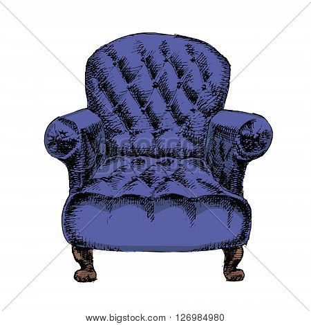 Old styled vintage armchair isolated on white background. Hand drawn vector stock illustration