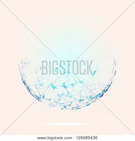 Abstract mesh spheres. Futuristic technology low poly style. Elegant dots background for business presentations. Flying debris lines. Illustration