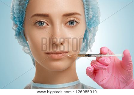 Aesthetic Medicine, Cosmetology. Close Up Isolated Portrait Of Young Beautiful Caucasian Woman With
