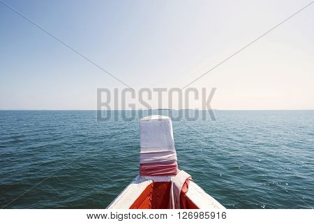 Beautiful sea and sky view from prow of wooden boat