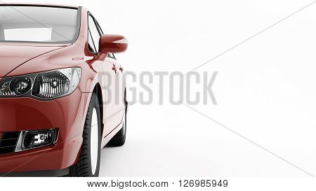 New CG 3d render of generic luxury detail red sports car driving illustration isolated on a white background. Mockup with stylized noise effects