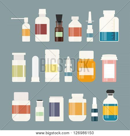 Medicine colorful bottles collection. Bottles for drugs, tablets, capsules and sprays. Hospital equipment. Illustration on gray background.