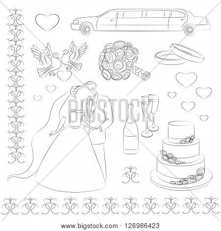 Wedding icon set. Wedding day. Love- heart- rings -limuzin- cake and other