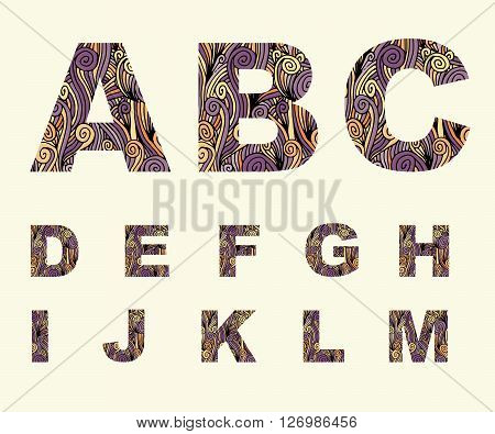 Font type curl abc uppercase. Vector stock illustration
