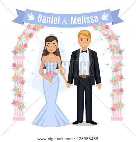 Happy wedding couple. Wedding couple and floral frame. Bride and groom on their wedding day. Wedding couple vector illustration isolated on white background. Cute cartoon wedding couple