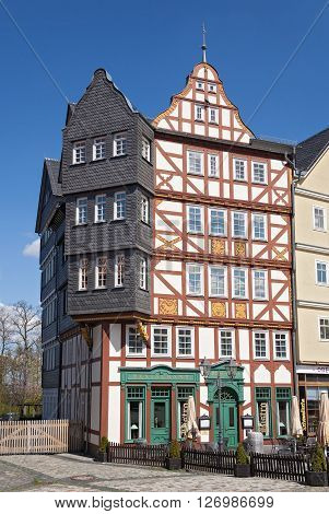 NEU ANSPACH, GERMANY - APRIL 18, 2016: half timbered house at the Market Square