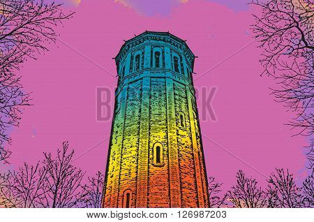 a new wave of illustration in the style of a sixties tower and trees