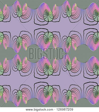 Abstract geometric seamless background. Regular spiral pattern horizontally in purple shades with violet, pink and pale green elements and wiggly lines in black, ornate and dreamy.