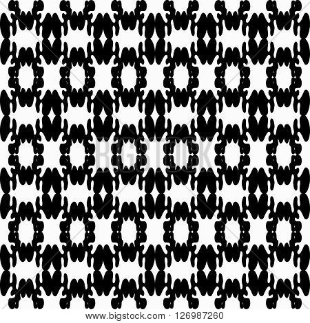 monochrome pattern vintage ethnic ornament on a black background vector illustration