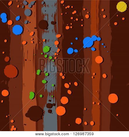 Vector background with colorful spots of paint on a brown striped background. Color, flat. The trace of a paint roller and spray paint simulation. For the decoration.