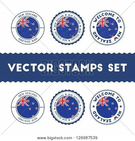 New Zealander Flag Rubber Stamps Set. National Flags Grunge Stamps. Country Round Badges Collection.