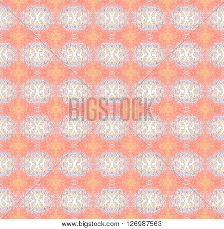 Abstract geometric seamless background. Regular ellipses pattern beige and light blue with elements in orange and pink.
