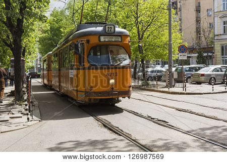 Sofia, Bulgaria - April 14, 2016 : Tranway And Street Scene Of Downtown City Of Sofia, The Capital O