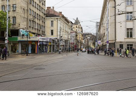 SOFIA BULGARIA - APRIL 14 2016: Downtown of Sofia is the largest city of Bulgaria with around 1.3 million people.