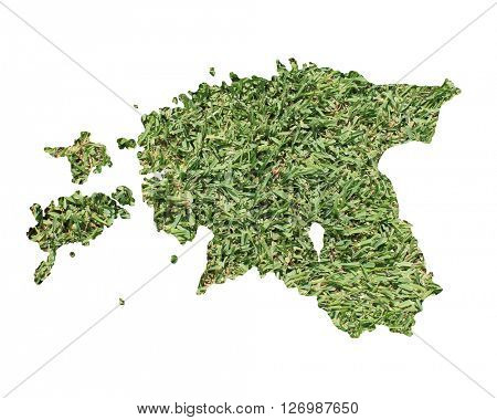 Map of Estonia filled with green grass, environmental and ecological concept.