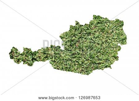 Map of Austria filled with green grass, environmental and ecological concept.