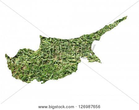 Map of Cyprus filled with green grass, environmental and ecological concept.
